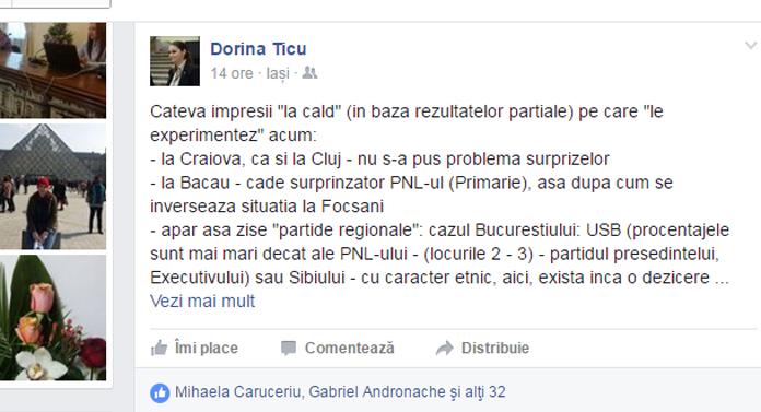 Dorina Ţicu a prins din nou grai. Pe Facebook!