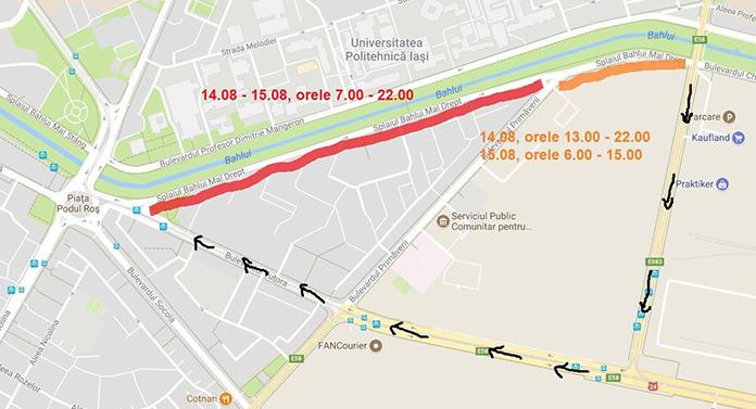Atenție șoferi! Nebunie în zona Podu Roș – Tudor Vladimirescu. Care sunt rutele ocolitoare